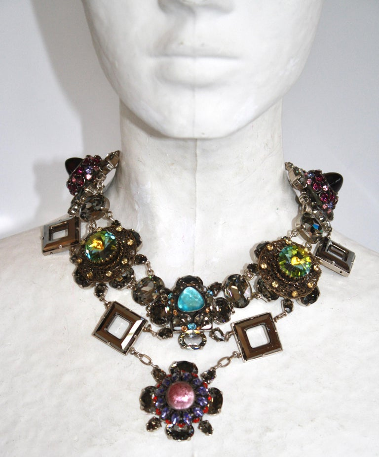 Francoise Montague Vintage Glass and Crystal Limited Series Necklace In New Condition For Sale In Virginia Beach, VA