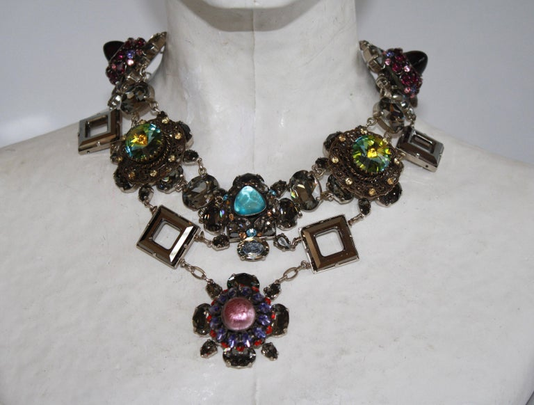 Women's or Men's Francoise Montague Vintage Glass and Crystal Limited Series Necklace For Sale