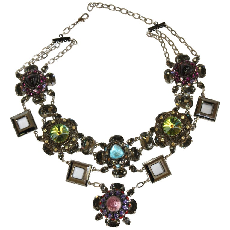 Francoise Montague Vintage Glass and Crystal Limited Series Necklace For Sale