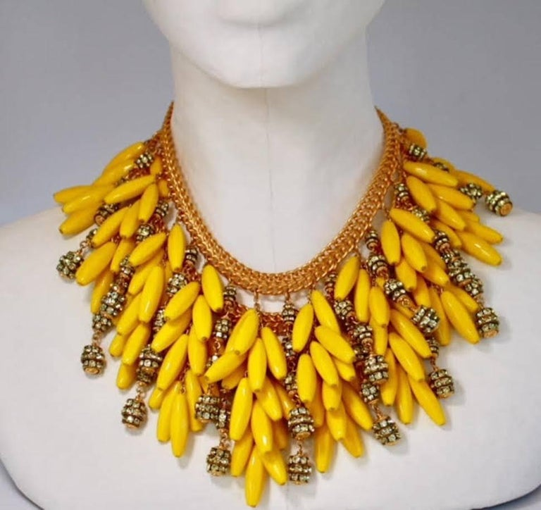 Vintage yellow glass bead and Swarovski crystal rondelle statement necklace from Francoise Montague.