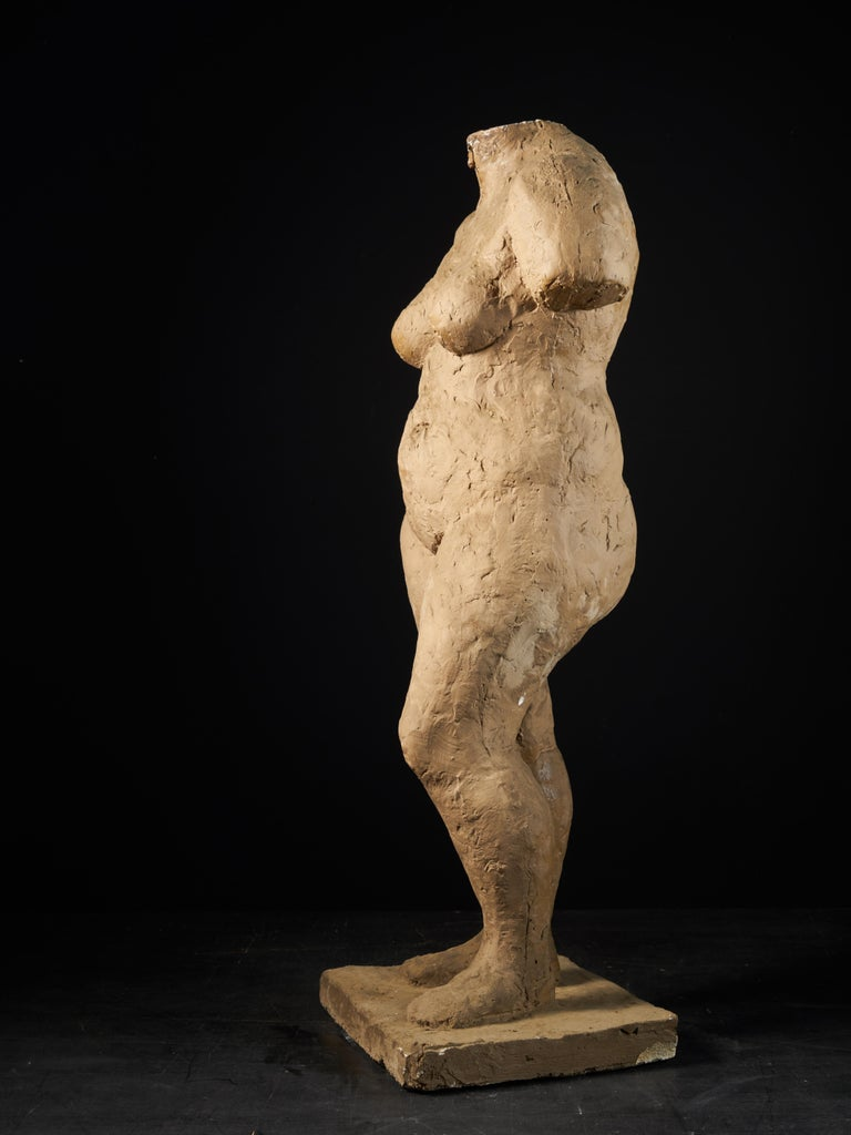 Belgian Françoise Rival, Statue of a Standing Naked Woman in Plaster For Sale