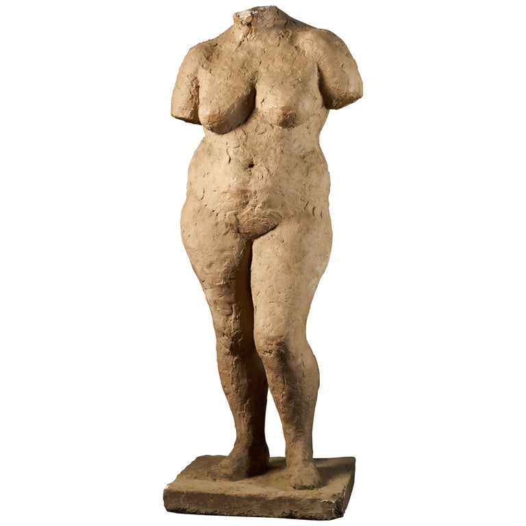 Françoise Rival, Statue of a Standing Naked Woman in Plaster For Sale