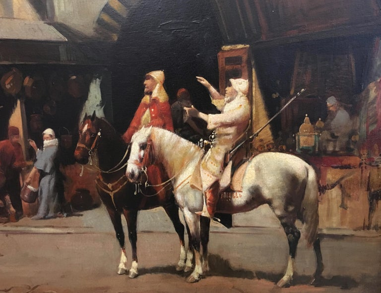 ARABIAN SCENE - Oil on canvas cm. 60x90 by Francoise Vigneron, Italy 2004. Gold leaf gilded and mahogany lacquered wooden frame cm.88x118