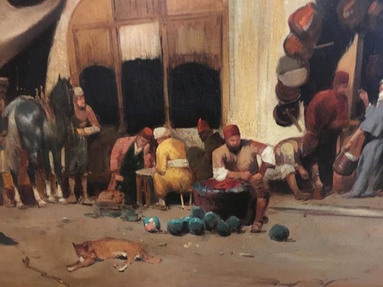 ARABIAN SCENE - Italian oil on canvas painting, Francoise Vigneron For Sale 1