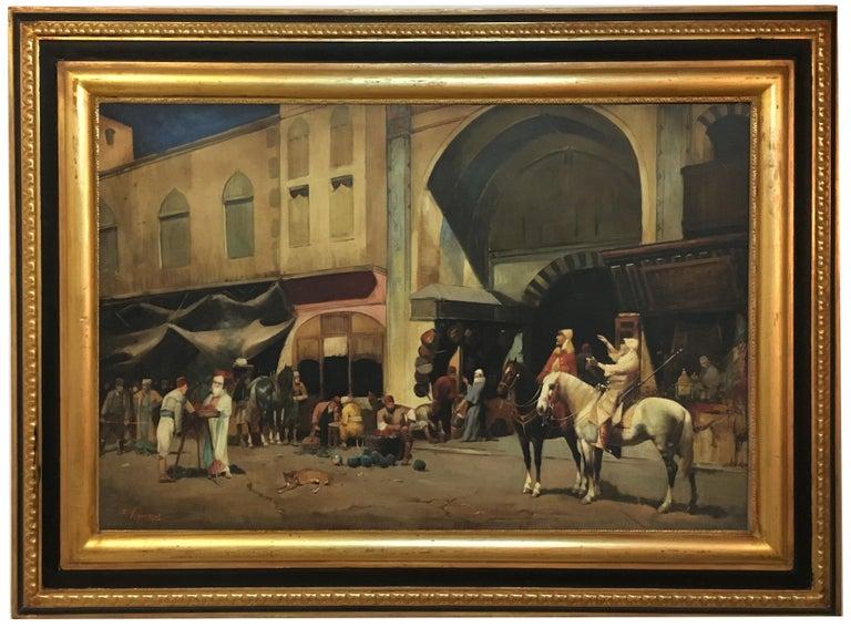 ARABIAN SCENE - Italian oil on canvas painting, Francoise Vigneron For Sale 5