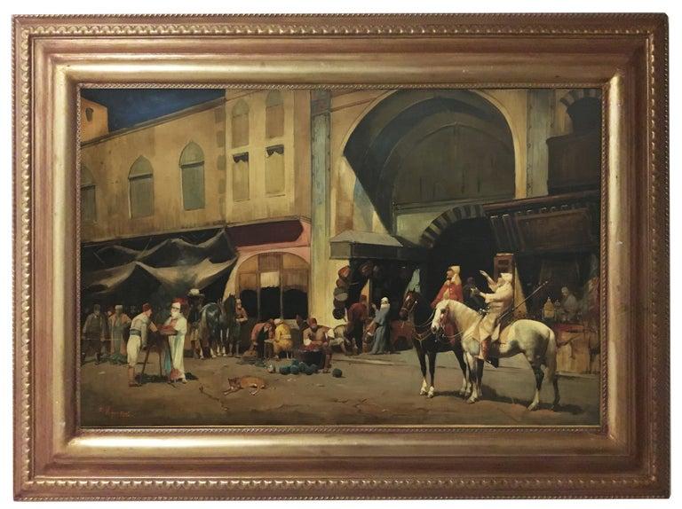 ARABIAN SCENE - Italian oil on canvas painting, Francoise Vigneron For Sale 6