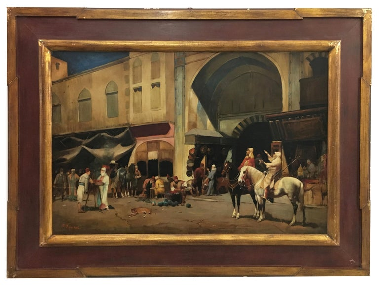 ARABIAN SCENE - Italian oil on canvas painting, Francoise Vigneron - Painting by Francoise Vigneron