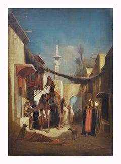 ARABIAN SCENE - Vigneron landscape oil on canvas painting