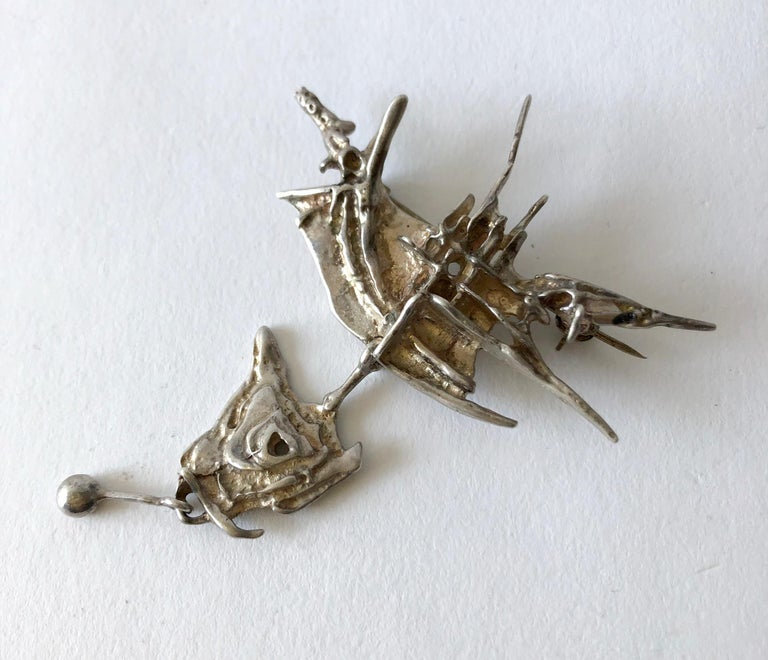 Large scale kinetic sterling silver Tundra brooch created by Frank and Regine Juhls of Norway.  Brooch measures 3