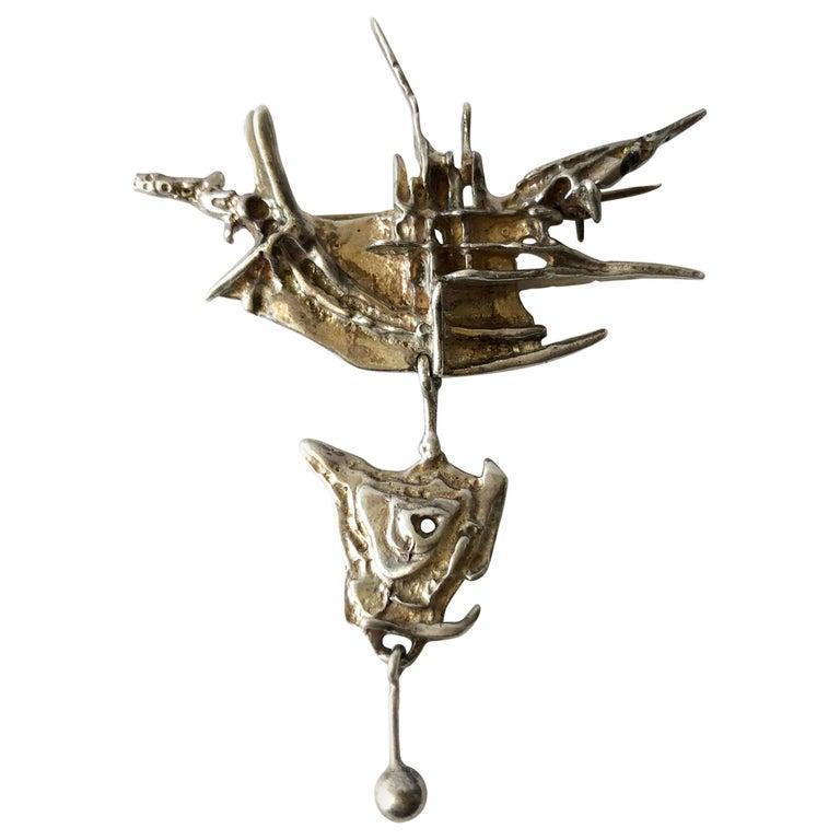 Frank and Regine Juhls Sterling Silver Norwegian Modernist Tundra Brooch For Sale
