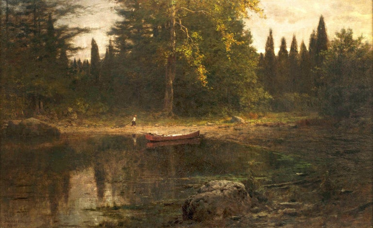Hudson River School landscape with figure by American painter  FRANK ANDERSON (1844-1891) Evening, 1885 Oil on canvas 15 1/8 x 24 ¼ inches Signed F. Anderson and dated '85 at lower left  In July of 1879, a writer for The Art Critic declared that