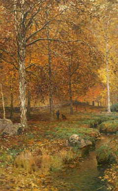 Gathering Leaves, 1883 autumn landscape by Frank Anderson (American, 1844-1891)