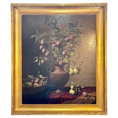 """Frank Arcuri, Still Life Oil on Canvas. Framed. """"Small Feast with Figs"""" 1999"""