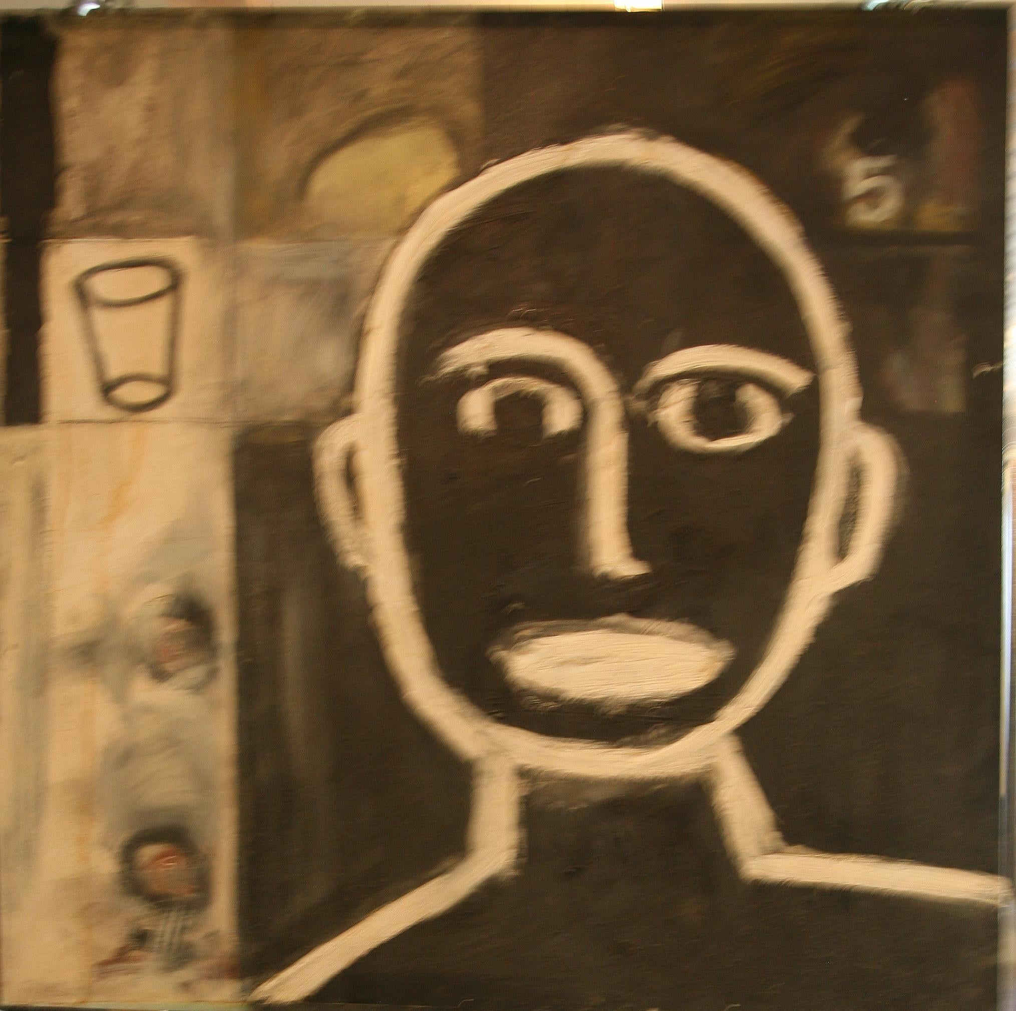"""Oil on Canvas """"Black 5"""" by abstract-figurative artist, Frank Arnold"""