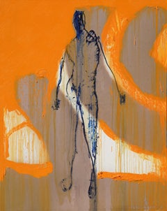 """Oil on Canvas """"Blue Shadow"""" by abstract-figurative artist, Frank Arnold"""