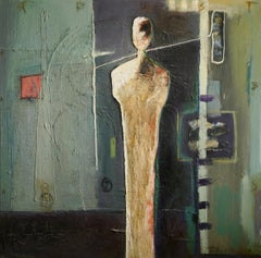 """Oil on Canvas """"BS Trust"""" by abstract-figurative artist, Frank Arnold"""