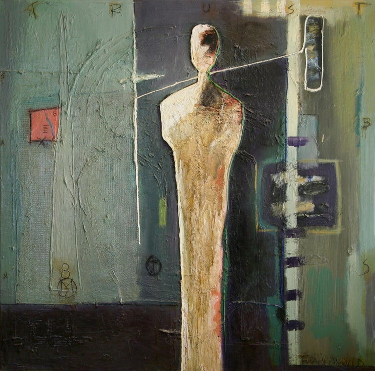 """Oil on Canvas """"BS Trust"""" by abstract-figurative artist, Frank Arnold - Painting by Frank Arnold"""