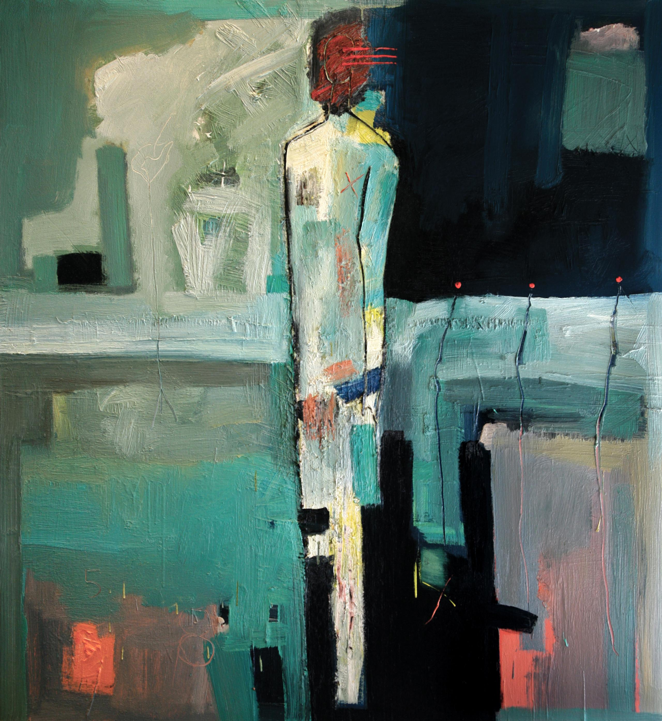 """Oil on Canvas """"Cabo Man"""" by abstract-figurative artist, Frank Arnold"""