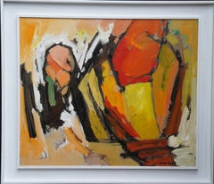 Abstract '83 - Orange Yellow - British 20th century Action art oil painting