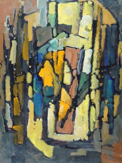 Abstract '85 - Blue Yellow - British 20th century Action art oil painting