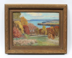 Antique American Impressionist Fall Landscape Signed Finger Lakes Oil Painting