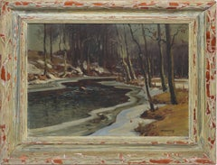 Antique American Impressionist Winter River Landscape by Frank Barney