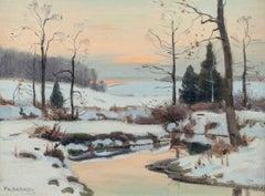 Winter Landscape, Snow Scene by Tonalist, Frank Barney (1862-1954, American)