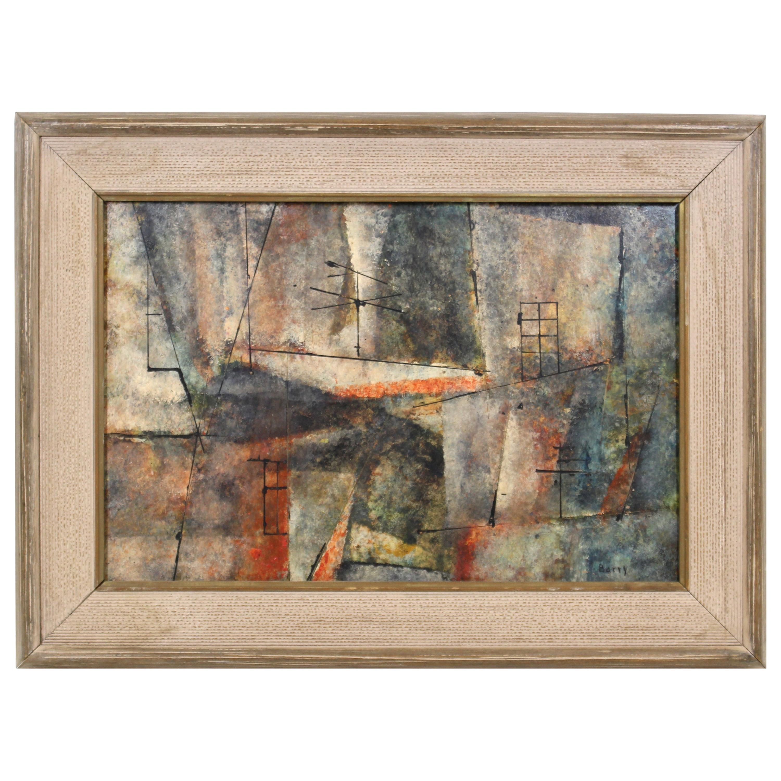 Frank Barry Mid-Century Modern Abstract Oil On Masonite Painting