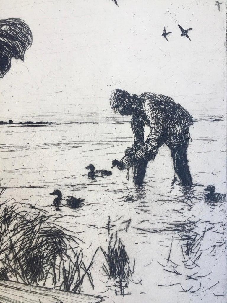 WINTER WILDFOWLING - Gray Figurative Print by Frank Benson