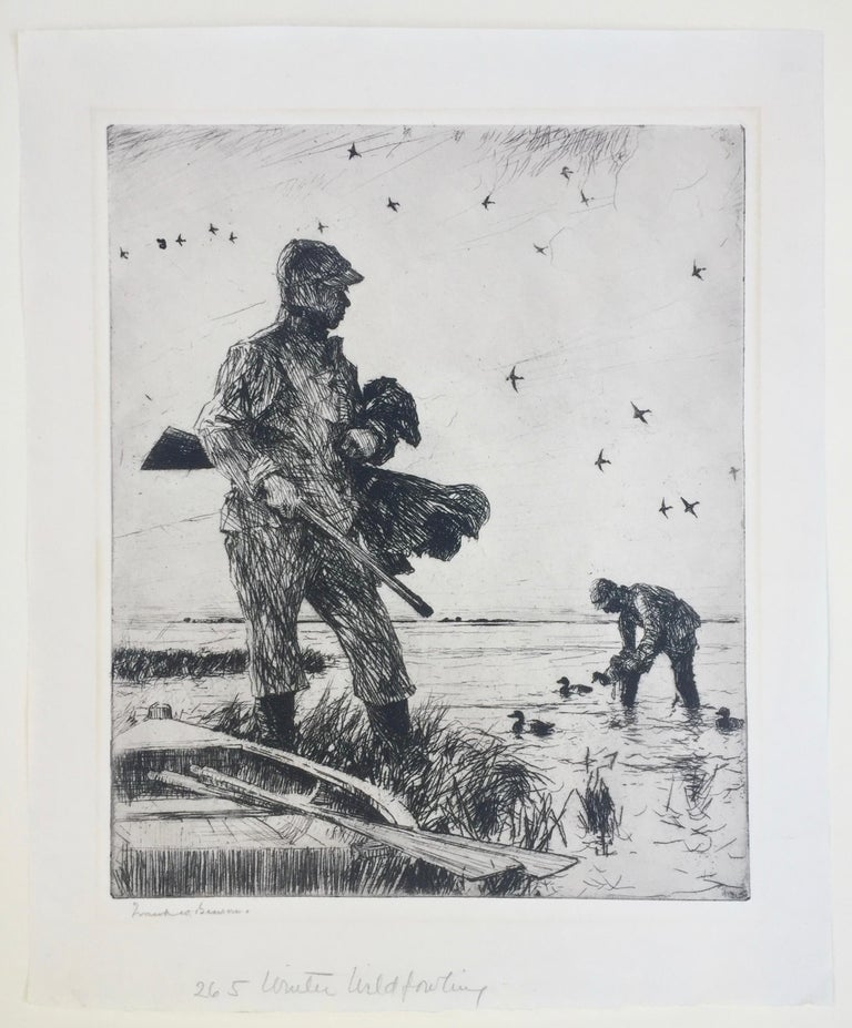 FRANK WESLEY BENSON (1862 - 1951)  WINTER WILDFOWLING, 1927 (PAFF 265)  Etching, Signed in pencil. Edition 150. 11 7/8 X 9 7/8 inches. Sheet 14 3/4 x 12 1/4 with full margins with deckle edges all around. Very good condition save for a hint of a mat