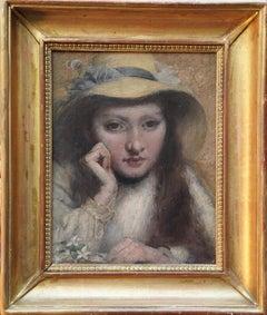 Portrait of Girl in Straw Hat - British Victorian art Newlyn School oil painting