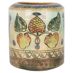 Frank Brangwyn Royal Doulton Arts and Crafts Leaf and Berry Art Pottery Vase