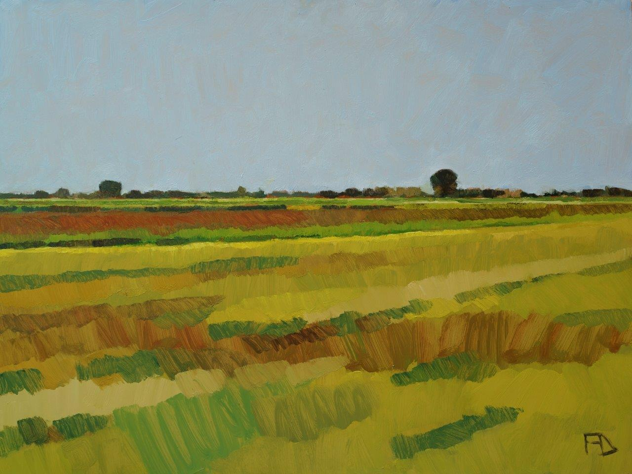 First Bloom in Spring- 21st Century Contemporary Painting of a Landscape