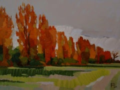 ''Flowering Poplars'', Contemporary Dutch Oil Painting of a Landscape