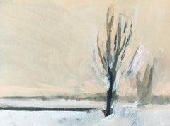 ''Landscape Miniature Snow', Contemporary Landscape Miniature Oil Painting
