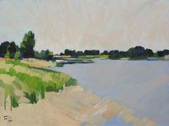 ''Low Tide'', Contemporary Dutch Oil Painting of a Landscape
