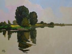 ''Silent Lek'', Contemporary Dutch Oil Painting of a Landscape