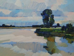 ''The Uiterwaard Full of Life'', Contemporary Dutch Oil Painting of a Landscape