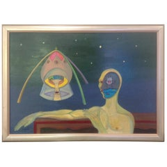 Frank Dininno Surreal Space Oil Painting from 1965