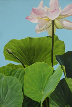Lotus No 10. (Hard Edge Realist painting of White Lotus Flower and Leaves)