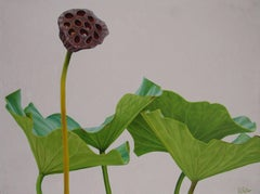 Lotus No. 7 (Hard Edge Realist Oil Painting of Lotus Leaves and stems)