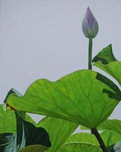 Lotus No. 8 (Realist Still Life Painting of Green lotus leaves and flower buds)