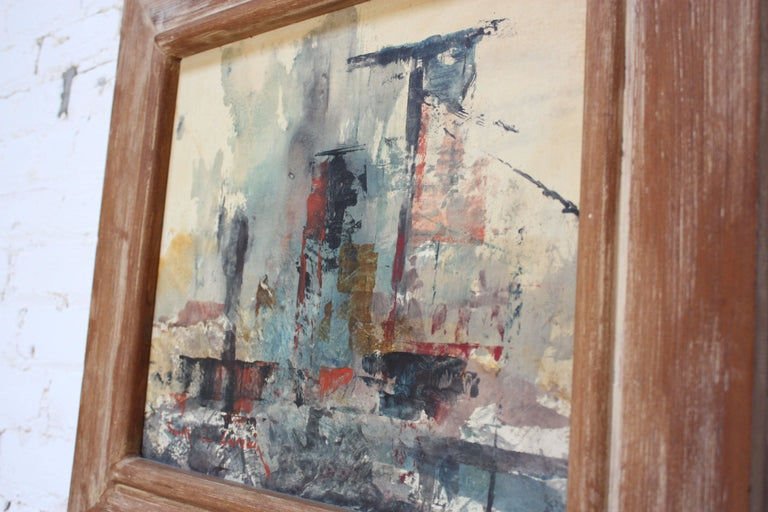 Mid-Century Modern Frank Edwin Larson Abstract Oil and Gouache on Canvas For Sale