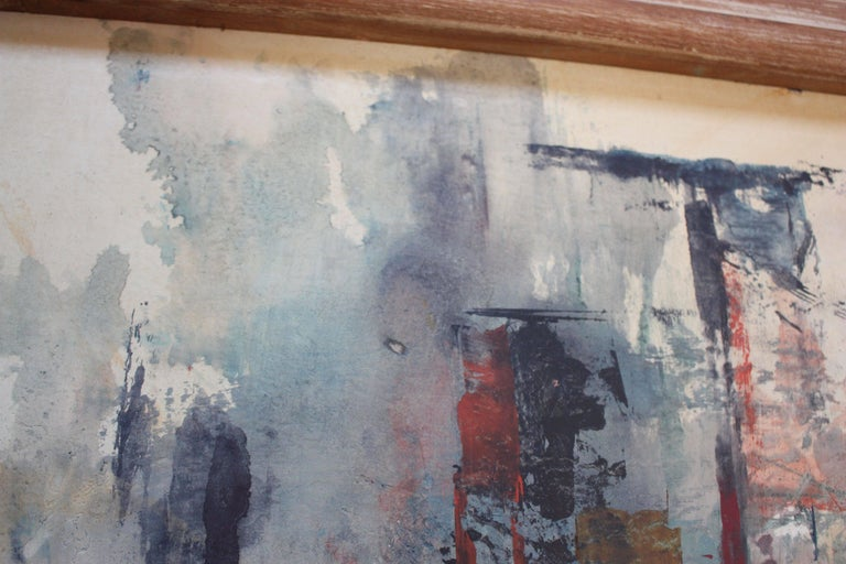Frank Edwin Larson Abstract Oil and Gouache on Canvas In Good Condition For Sale In Brooklyn, NY