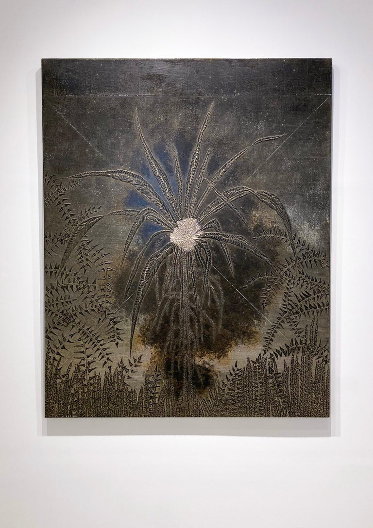 Abstract Flora III: Minimalist Abstract Landscape of Dark Silver & Bronze Leaves - Painting by Frank Faulkner