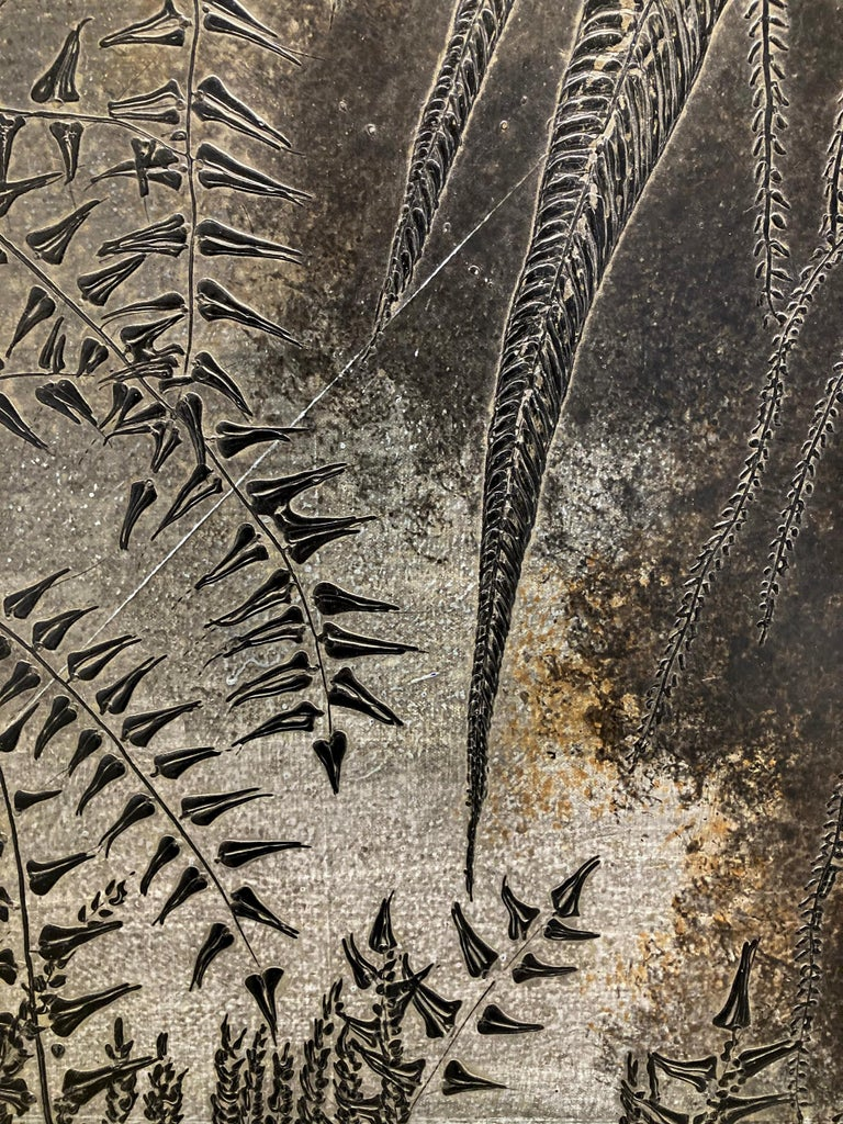 Abstract Flora III: Minimalist Abstract Landscape of Dark Silver & Bronze Leaves For Sale 1