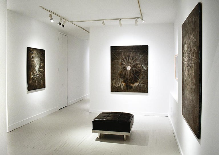 Abstract Flora III: Minimalist Abstract Landscape of Dark Silver & Bronze Leaves For Sale 3