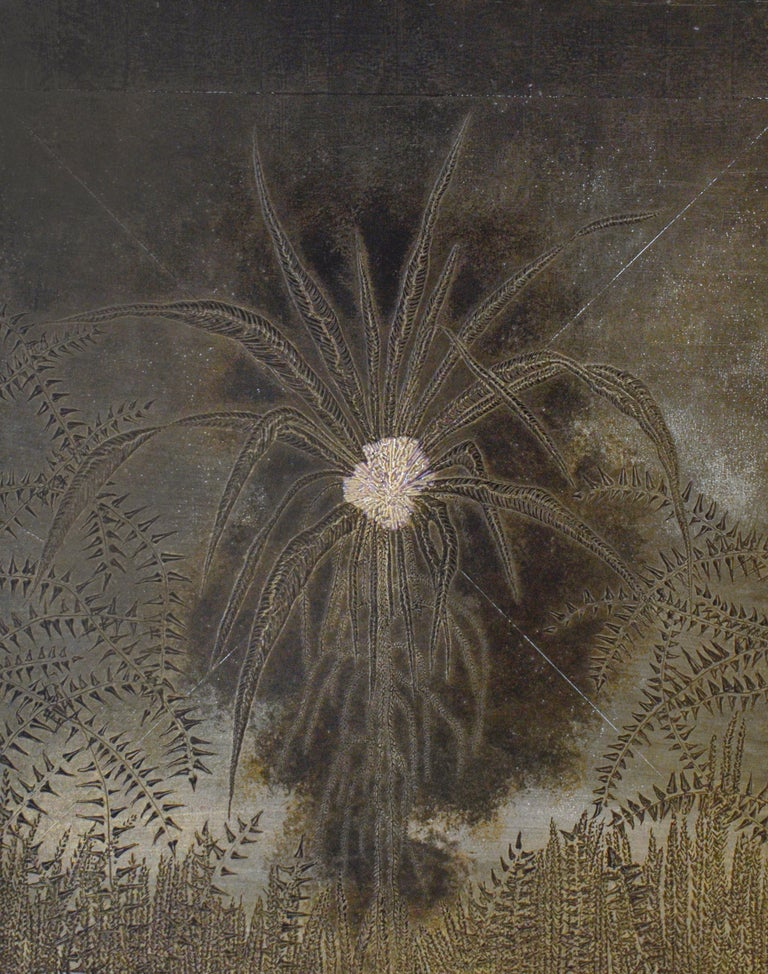 Frank Faulkner Landscape Painting - Abstract Flora III: Minimalist Abstract Landscape of Dark Silver & Bronze Leaves