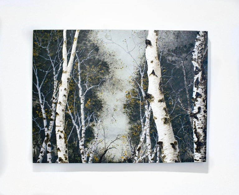 Birch Grove on the Hudson I: Landscape Painting on Panel of White Birch Forest  For Sale 1