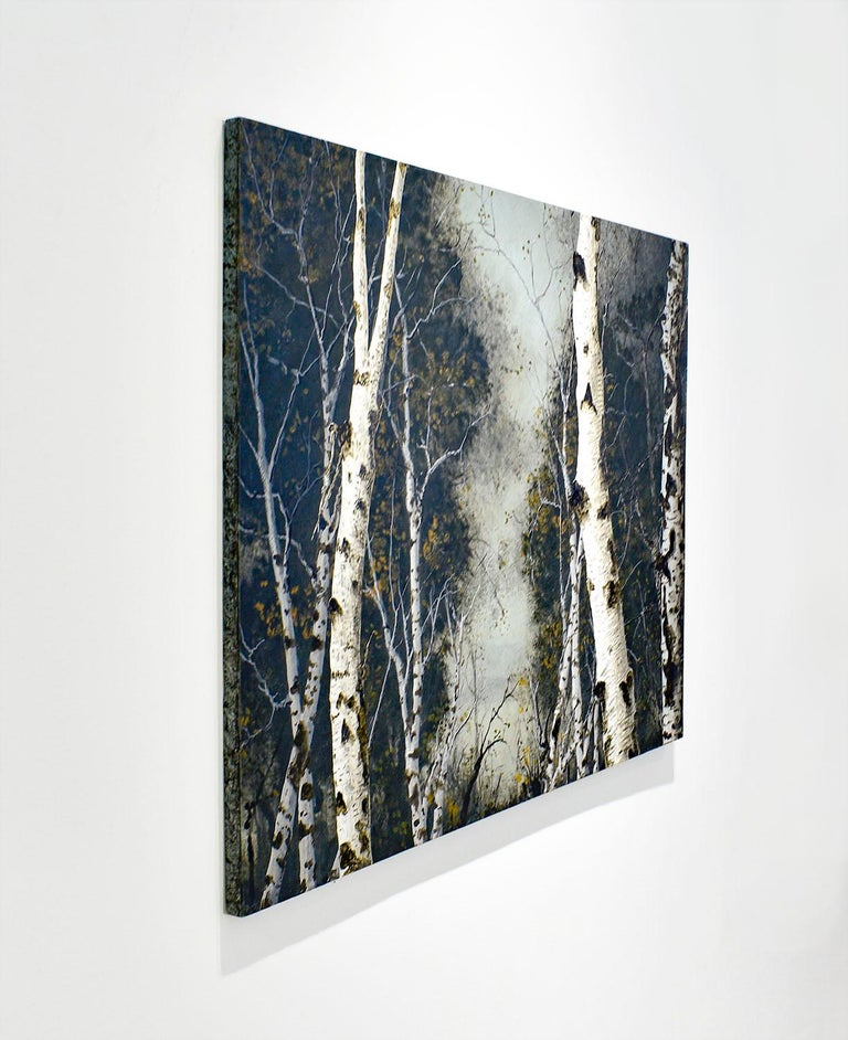 Birch Grove on the Hudson I: Landscape Painting on Panel of White Birch Forest  For Sale 2